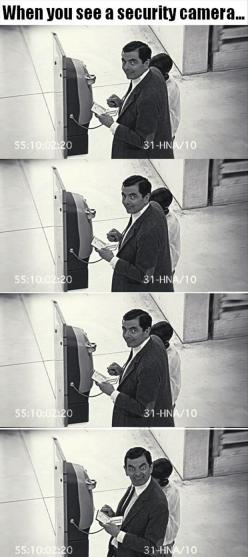 You know you do it! Everyone does. It's kinda like a game and it's called let's try to make the ugliest face I can: Giggle, Mr Bean, Beans, Security Camera, Funny Stuff, Humor, Funnies, Securitycamera