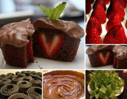 You will need: - chocolate flavored cake mix (1 package); - strawberries; - chocolate pudding (1 package); - fresh mint leaves.: Desserts, Idea, Chocolates, Chocolate Cupcakes, Sweet, Recipe, Food, Strawberries