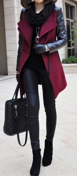 0e71024adf1f14500106b4bd9773a9b6: Leather Sleeve, Burgandy Pants Outfit, Burgandy Outfit, Winter Outfit, Fall Outfit, Burgundy Outfit