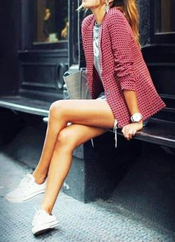 31+Pretty+Fashion+Images+That+Blew+up+on+Pinterest+via+@WhoWhatWear: Shorts With Sweater, White Converse, Fashion, Patterned Blazer, Outfit, Street Styles, Pattern Blazer