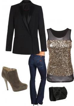 """Christmas party outfit"" by yjmauney on Polyvore this would be perfect for just a night out too! I need to get some shoes like that?: Christmas Parties, Casual Christmas Party Outfit, Fall Vegas Outfit, Holiday Outfit, Christmas Party Outfit Jean,"