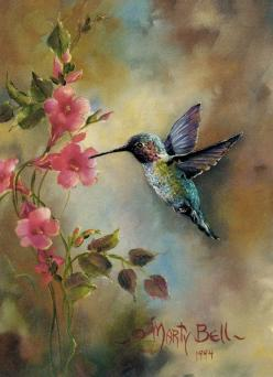 """The Humming Bird"" painting by: Marty Bell: Bird Paintings, Humming Birds, Art Hummingbirds, Humming-Bird, Fine Art, Tattoo, Painting"