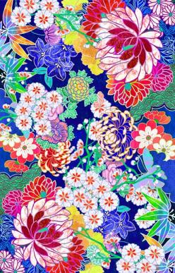 'Oriental flowers' by Elmira Amirova pink blue white orange lime green yellow: Iphone Wallpapers, Art, Pattern Print, Flower Wallpaper, Flower Patterns, Oriental Flower, Fabrics Wallpapers Patterns