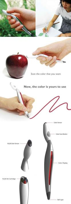 A marker that scans the color of an object AND THEN draws in the exact color ?!: Idea, Real Life, Coolest Pen, Pens, Cool Pen