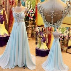 colred wedding dress alternative/Wholesale Long Prom Dresses - Buy Real Sample Light Blue Chiffon Crystal Prom Party Dresses Beaded Backless Greek Arabic Style Evening Celebrity Pageant Gowns Plus Size 2014, $155.5 | DHgate: Blue Chiffon, Buy Real, Weddin