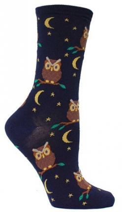 Crew length sock featuring owls & moons. Fits women's shoe size 5-10.: Awesome Socks, Animal Socks, Things Owl, Night Owl, Novelty Socks, Owl Obsession, Owl Socks, Products