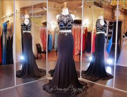 Crop Top Two Piece Prom Dresses are all the rage in 2015. This amazing two piece features a completely beaded and sweetheart illusion neckline. The jersey knit floor length skirt is a bias cut and trimmed at the waist with matching beadwork. Just stunning