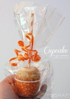 Cupcake to Go Containers How-To ~ cute and such a good idea for birthday thank you's and classroom treats... so simple to assemble and look so pretty.