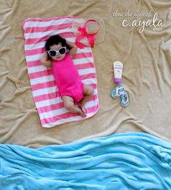 Cute Summer Baby Photo Idea, for the little ones who cant handle the actual beach or lack a nearby one.: Beaches, Photo Ideas, Beach Babies, Beach Baby, Baby Photos, Picture Ideas