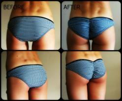 DIY scrunched bikini bottoms - Now that I know how to sew, all of Dawn's swimsuit bottoms and panties are going to get this treatment.: Diy Scrunchie, Scrunched Bikini Bottom, Diy Pantie, Bathing Suit Bottom, Diy Bikini Bottom, Diy Bathing Suit