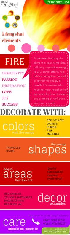 Easy feng shui decorating with fire element: bring passion, success and romance into your life