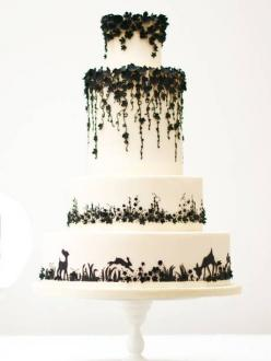 Enchanted forest wedding cake with amazing detail: White Cake, Forest Wedding Cake, Cake Design, Beautiful Cake, Black White Wedding Cake, Wedding Cakes, Enchanted Forest Wedding, Weddingcake, Black And White Wedding Cake