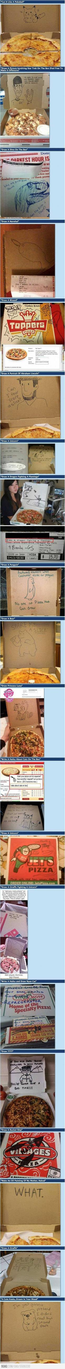 Extra requests from online pizza orders. Doing this.: Drawing Requests, Giggle, Pizza Boxes, Funny Stuff, Pizza Place, Order Pizza
