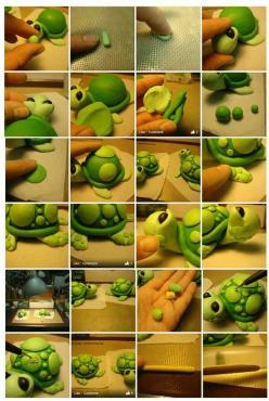Fondant turtle tutorial...so cute!: Idea, Fondant Animals, Fondant Turtle, Fondant Figures, Turtles, Polymer Clay, Fondant Tutorial, Cake Toppers, Turtle Tutorial