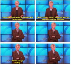 haha! We'll just give them the silent treatment.: Ellen Degeneres, Giggle, U.S. Presidents, So True, Funny Stuff, So Funny, Ellendegeneres
