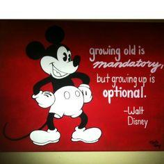 Hand-painted Mickey Mouse with inspirational Walt Disney quote.