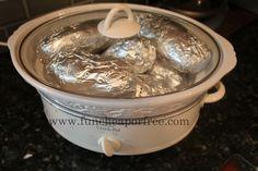 How to bake potatoes in the crock pot, PLUS everything you need to know for a potato bar. It's seriously the cheapest, easiest, and yummiest way to feed a crowd - perfect party food.