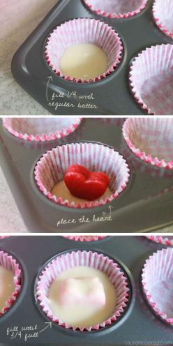 how to bake surprise inside heart cupcakes // perfect for valentine's day: Valentine Day Cupcakes, Valentines Day, Heart Inside Cupcake, Heart Cupcakes, Bake Surprise, Cup Cake, Sweet Tooth, Valentine S