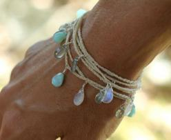 I think I'd wear this all summer. peruvian blue opal, rainbow moonstone and moss aquamarine briolettes  #garnethill #summerstyle: Cute Bracelet, Long Necklace Bracelet, Blue Opal, Seaswell Long