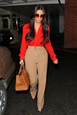If you're curvier, try a high-wasited pant with wider waistband to flatter your shape. Also break up the look with contrasting color top, ie black & white.Add nude pumps to elongate the legs even more! Great look on Kim K. yet simple & chic en