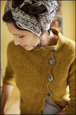 Levenwick by Gudrun Johnston for Brooklyn Tweed Wool People http://www.ravelry.com/patterns/library/levenwick: Sweaters, Mustard Sweater, Fashion, Pattern, Style, Cardigan, Head Scarf