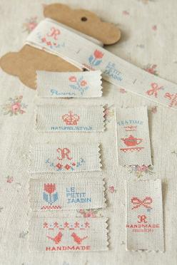 linen sewing tape <3: Linen Cotton Sewing, Hand Made Labels, Cotton Tape, Fabric Labels, Cross Stitches, Labels Homemade, Embroidery Monograms