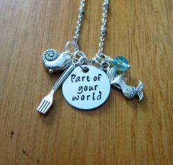 """Little Mermaid Inspired Necklace. Part Of Your World. Silver colored, Swarovski crystal, for women or girls. Little Mermaid necklace. Little Mermaid Jewelry. Disney song """"Part of your world"""". by WithLoveFromOC: Mermaid Jewelry, Mermaid Inspired, D"""