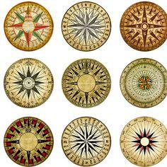 Mariner's Rose Compass digital collage sheet 1 inch by magicpug, $4.25