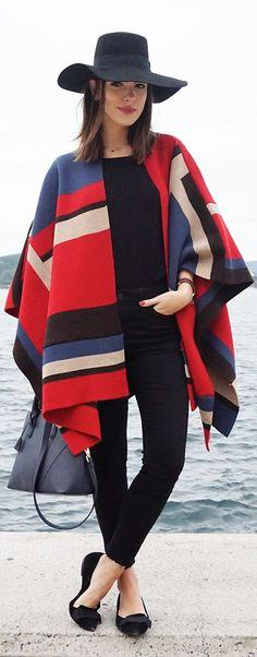 Maritsanbul (maritsa.co) Multi Olivia Palermo's Style Inspired Poncho its FALL O'CLOCK 12 October 2014