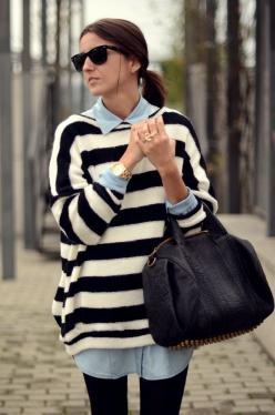 nautical stripe sweater + chambray shirt = classic street chic: Fashion, Style, Outfit, Stripes