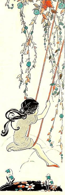 Oh, how I love to go up in a swing, up in a swing so hight  Oh, I do believe it the most wonderful thing a child like I should fly...  swinging girl illustration from late 20's or early 30's: 1920 1930, Vintage Illustrations, Clip Art, Bumble Butt