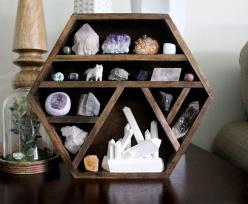 one of a kind handmade hexagon wood wall shelf with crystal collection, wood crystal sculpture and handy maiden arctic fox: Arctic Fox, Handmade Hexagon, Handy Maiden, Wall Shelves, Kind Handmade, Wood Walls