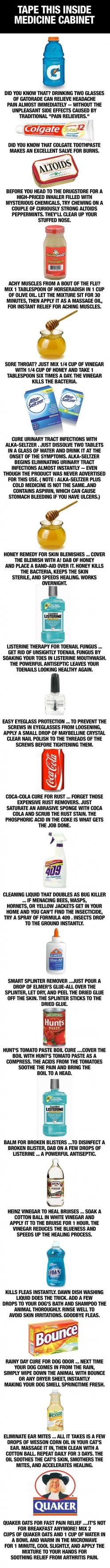 Pin now; read later: Work, Home Remedies, Idea, Helpful Hints, Lifehacks, Household Items, Medicine Cabinets, Life Hacks