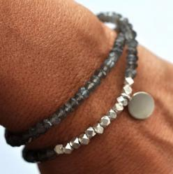 Silver Gemstone Beaded Bracelet by Phillip Nixon:  Gray Moonstone semi precious gemstones are combines with Pure Silver faceted nuggets and Disc Charm which can be customized.: Charm, Craft, Gemstone Bracelets Ideas, Jewelry Bracelets, Beaded Bracelets, S