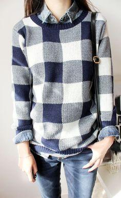 sweater over button-up + denim.