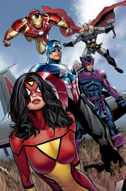 The Avengers and for those of you who don't know that Spider Woman yes she is part of the Avengers.: Spider Women, Comic Books, Marvel Comics, Greg Land, Superheroes, Comic Art, Super Heroes, The Avengers