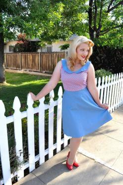 The Ruby Dress! $88.00Peter Pan Collar Full flare A-line skirt Attached contrasting belt Ties in back for fit Center Back zipper Approximately 20'' inches from waist to hem 100% Cotton: Face, Pinup Pinupdress, Mandiebee Vintage, Retro Dresses, Ret