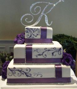 wedding cake........like the bling and the letter on top: Cake Design, Wedding Ideas, Weddings, Cake Ideas, Pretty, Purple Cake, Purple Wedding Cakes, Bling Cake