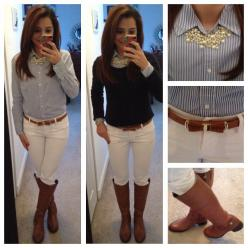 white skinny jeans, chambray shirt, navy sweater, Equestrian boots, statement pearls  http://moncler-online-shop.blogspot.com/  $161.99 cheap moncler coat: Equestrian Style Outfit, Equestrian Outfits, Equestrian Boots Outfit, Work Outfit, Casual Outfits,