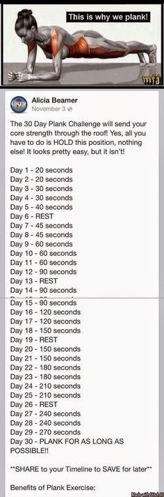 30 day challenge. This is the BEST for toning and strengthening your core.: 30 Day Plank, Health Workout, Fitness Challenge, Work Outs, Exercise, Challenge Accepted, Fitness Workout, Plank Challenge