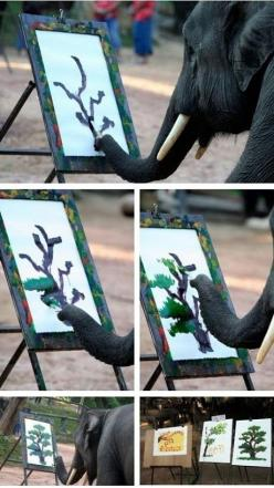An elephant painting a tree... a better tree than I could paint... Wow!: Elephants, Animals, Elephant Paintings, Tree, Stuff, Awesome, Funny, Paint Better