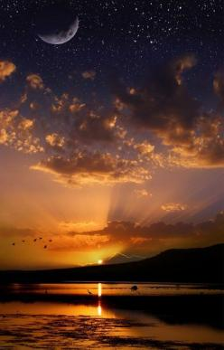At the right time both the sun and moon are there in the sky together.: Sun Moon, Sky, Nature, Sunsets, Stars, Beautiful, Sunrise Sunset, Place, Photo