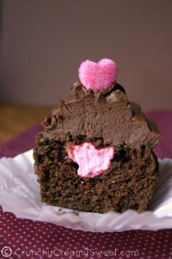 Chocolate Cupcakes For Two  by CrunchyCreamySweet.com Amazingly easy and decadent cupcakes topped with whipped ganache and sugar hearts!: Cupcakes Yummy, Treats, Chocolates, Recipe, Chocolate Cupcakes, Food, Valentines Day, Valentine S, Dessert