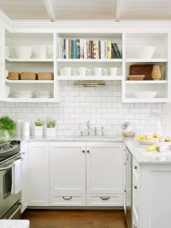 Classic good looks and a casual vibe are central to this kitchen! Find more looks here: http://www.bhg.com/kitchen/backsplash/kitchen-backsplash-ideas/?socsrc=bhgpin111014classicsubwaytile&page=11: Interior, Open Shelves, Small Kitchens, Kitchen Backs