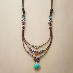 COMPENDIUM NECKLACE -- Our handcrafted leather, sterling bead and gemstone necklace is a compendium of colorful gems and sterling silver beads, bedecking a leather cord. A handmade exclusive with turquoise, garnets and more. Slide adjusts length from 18&#