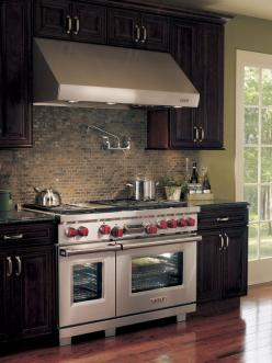Dream Kitchen Alert: The ultimate chef's stove (by Wolf).  Dual fuel allows for precise gas stovetop cooking, while the electric-heated convection ovens ensure even baking temps and easy cleaning. http://www.hgtv.com/kitchens/dreamy-kitchen-appliances