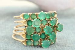 Emerald and rose gold ring. Turkey c1975.: Gold Stack, Rose Gold, 14K Emerald