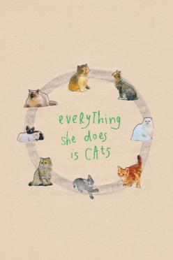 everything she does is cats - well it used to be me doing that.... down to 4 now: Cat Art, Cats, Animals, Kitty Cat, Meow, Catlady, Illustration, Crazy Cat, Cat Lady