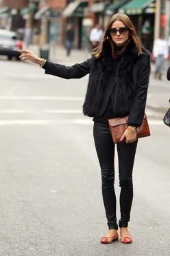 for an all black outfit, the different textures make it pop: Oliviapalermo, Fashion, All Black, Street Style, Outfit, Styles, Olivia Palermo, Fall Winter, Fur Vest