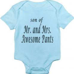 Funny Baby Onesie - Funny Baby Boy Onesie Bodysuit- Son of Mr and Mrs. Awesome Pants via Etsy: Babies, Boy Onesie, Bodysuit Funny, Funny Baby Shirts, Baby Boy, Funny Baby Onesie, Baby Bodysuit, Funny Babies, Baby Stuff